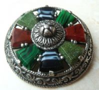 Vintage Miracle Shield Brooch With Mock Gemstones.